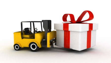 consignment: high res. 3D Forklift with gift box isolated  Stock Photo