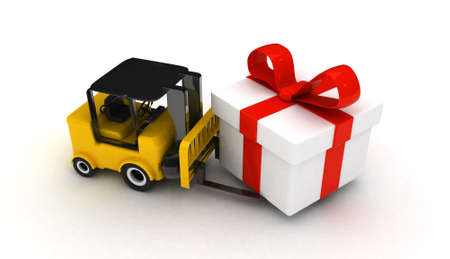 chit: high res. 3D Forklift with gift box isolated  Stock Photo