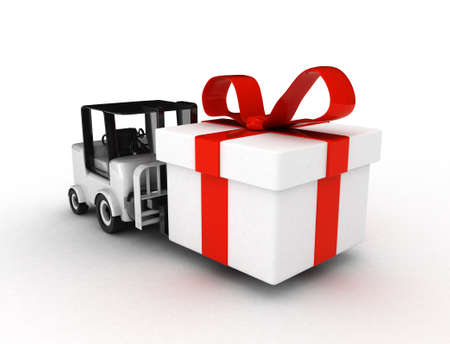 high res. 3D Forklift with gift box isolated  photo