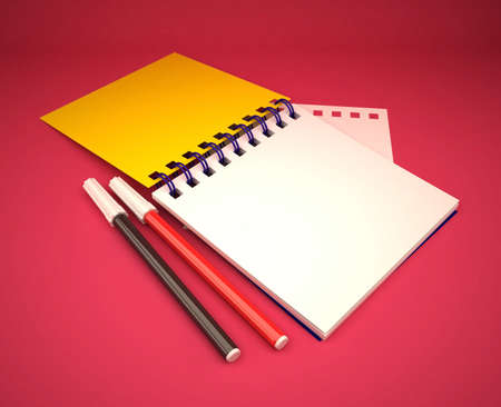 3d blank note pad with color pencil pink background  Stock Photo - 11447024