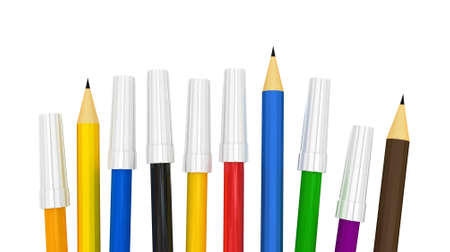 3D High res. pencils back to school concept Stock Photo - 11446991