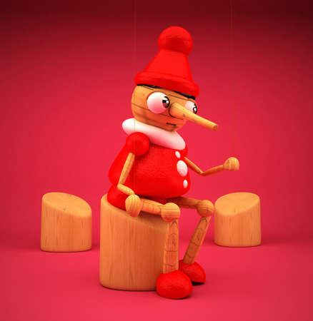 Pinocchio with pink background isolated 3D rendered