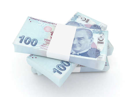 100 Turkish lira bills 3d rendered photo