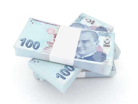 turk: 100 Turkish lira bills 3d rendered