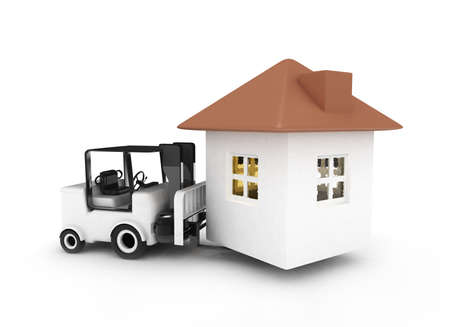 brings: forklift brings home 3d rendered isolated