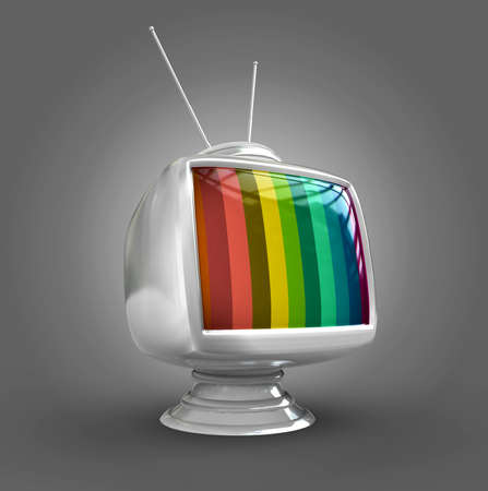 tv station: 3d Stylish classic tv -colorful no signal