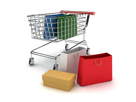 3d shopping cart with shopping bag-high res.  photo