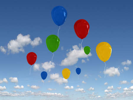 gaiety: multicolour balloons in the blue sky