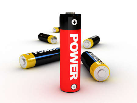 polarity: 3d battery for power concept - isolated
