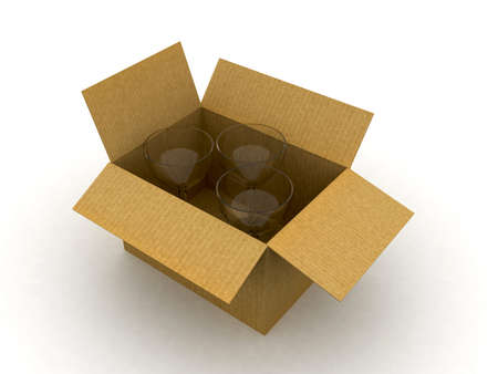 an open cardboard with glass Stock Photo - 11447704