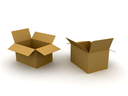 packer: 3d cardboard box isolated