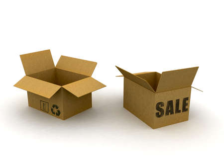 packer: 3d cardboard box isolated with sale text