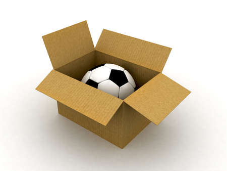 packer: 3d cardboard box isolated with ball