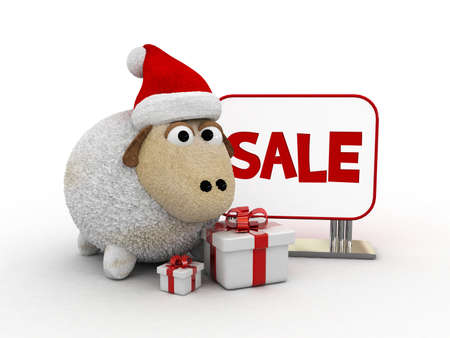 christmas paste: 3d character-christmas sheep with sale text