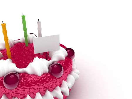 decoracion de pasteles: 3d crema tarta con papel de notas y velas