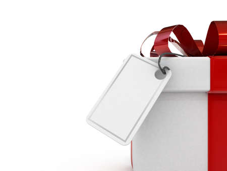 High res 3d gift with blank note paper