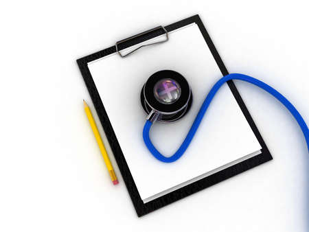 writing pad: Medical clipboard and stethoscope isolated on white background