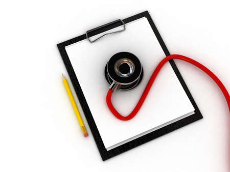Medical clipboard and stethoscope isolated on white background Stock Photo - 11447997