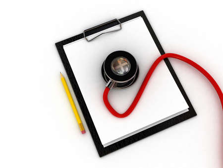 medical clipboard: Medical clipboard and stethoscope isolated on white background