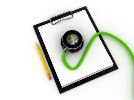 Medical clipboard and stethoscope isolated on white background photo