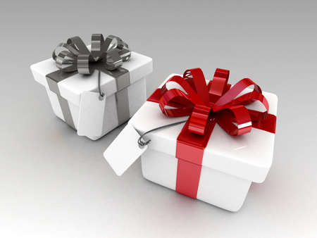 res: 3d two gift with blank note paper isolated-high res