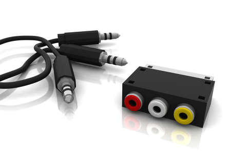 headphone jack and scart converter plug  Stock Photo - 11447142