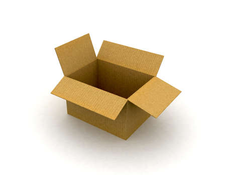 stored: An open cardboard box