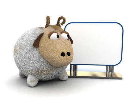 cartoon sheep with blank board photo