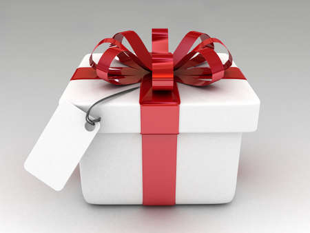 res: 3d gift with blank note paper isolated-high res.  Stock Photo