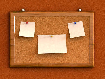 3d cork board with blank note paper  photo