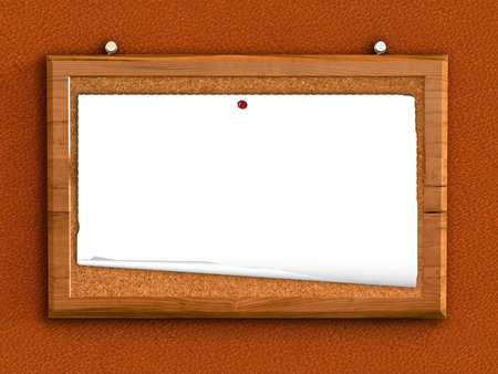 3d cork board with blank paper  photo