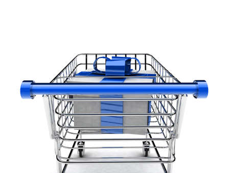 detail 3d illustration of shopping cart with gift Stock Illustration - 11447626