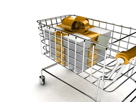 detail 3d illustration of shopping cart with gift  illustration