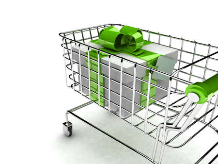 push cart: detail 3d illustration of shopping cart with gift  Stock Photo