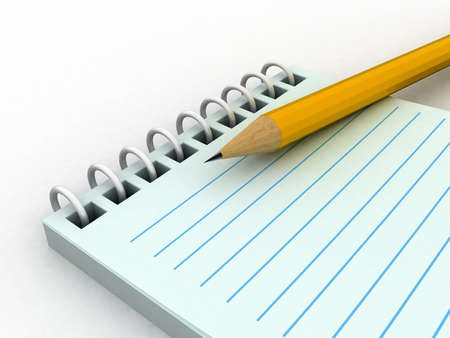 3d blank paper-note pad with pen Stock Photo - 11447851