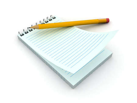 3d blank paper-note pad with pen  photo