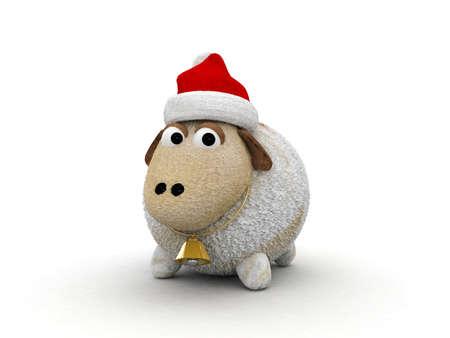 3d character christmas sheep  Stock Photo