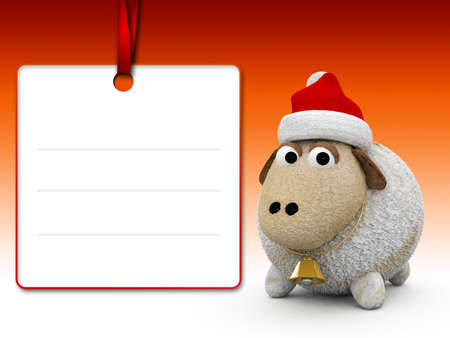 blank note: 3d character christmas sheep with blank note paper