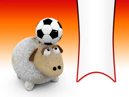pennon: 3d sheep with football-blank pennon