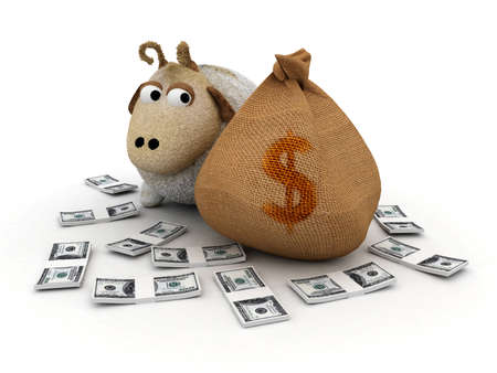 3d sheep character with money bag and dollars  photo
