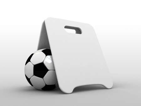 High res. 3d blank information board and soccer ball  photo
