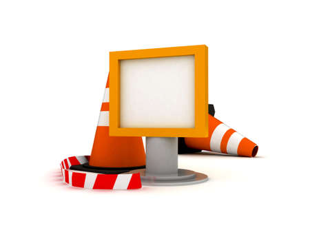 Traffic Cone with sign  photo