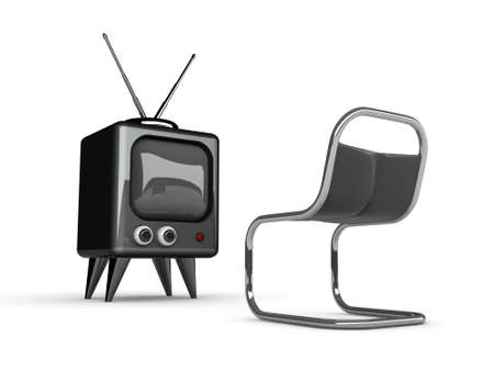 res: 3d tv and chair isolated on white-High res.  Stock Photo