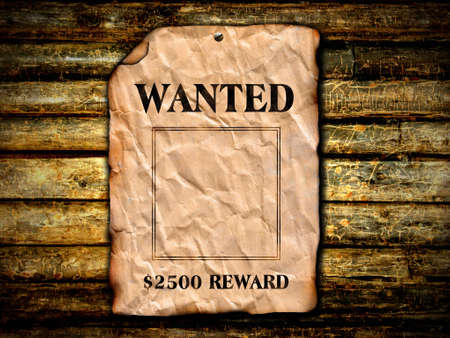 west: Wanted poster with wood background  Stock Photo