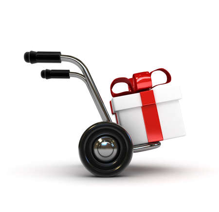 handcart: 3D Barrow with gift isolated