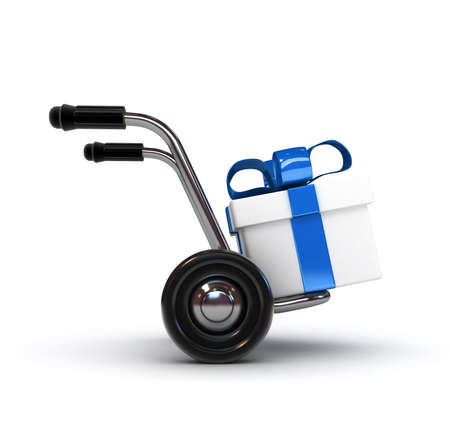 3D Barrow with gift isolated