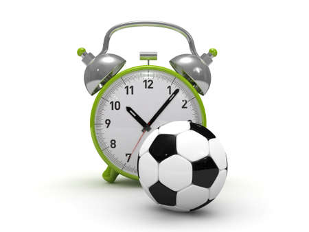 res: 3D alarm clock and soccer ball high res.  Stock Photo