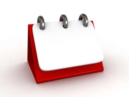 meses del año: Alta resolución. Calendario de escritorio 3D en blanco aislado Foto de archivo
