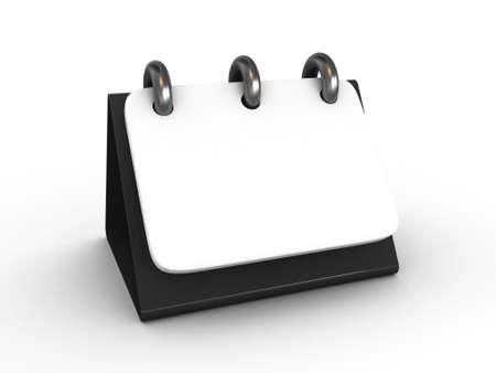 calendario escritorio: Alta resoluci�n. Calendario de escritorio 3D en blanco aislado Foto de archivo