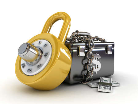 closed society: money box with dollars and lock-3d rendered  Stock Photo